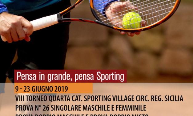 Tennis – VIII Torneo IV Categoria Sporting Village M/F – 9-23 giugno 2019